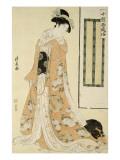 Femme en kimono rose et petit chien Giclee Print by Torii Kiyonaga