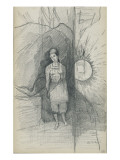 Woman Standing, Facing Forward, Right, a Star Shining Giclee Print by Odilon Redon