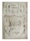Vue de l'intérieur d'un palais. A l'arrière-plan, on apporte la tête d'un homme exécuté Giclee Print by Jacopo Bellini