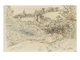 Village avec une ise devant un terrain de brousailles et d'arbres Giclee Print by Jean-François Millet