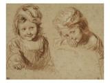 Deux études d'un jeune enfant coiffé d'un bonnet Giclée-tryk af Jean Antoine Watteau