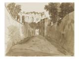 Chemin encaissé entre de hautes murailles et ruines Giclée-Druck von Pierre Henri de Valenciennes