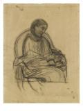 Femme assise dans un fauteuil, vue de trois quarts à droite, lisant Reproduction procédé giclée par Pierre Puvis de Chavannes
