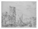 Vue d'une tour près d'un canal Giclée-Druck von Jan Van Goyen