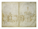 Guerriers à cheval ; destruction d'un autel païen Giclee Print by Jacopo Bellini