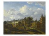 Vue de l'ancien château des ducs de Bourgogne à Bruxelles Giclée-Druck von Jan Van Der Heyden