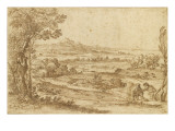 Vast Landscape of Sea, with Three Children Playing Giclee Print by Giovanni Francesco Grimaldi