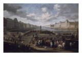 Vue de Paris avec le Louvre, prise du pont Henri IV Giclee Print by Hendrick Mommers