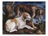 Deux chiens de chasse attachés à une souche Reproduction procédé giclée par Jacopo Bassano