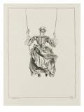 Femme vue de dos sur une balançoire Giclée-tryk af Jean Antoine Watteau