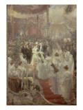 Pose de la première pierre du Pont Alexandre III à Paris par le Tsar Nicolas II, l'Impératrice et Giclee Print by Alfred Roll
