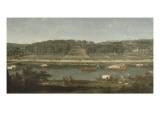 Vue de la Grande Cascade, des parterres et du château de Saint-Cloud prise de la Seine avant 1671 Giclée-Druck von der Meulen Adam Frans Van