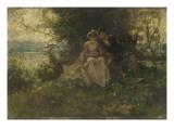 Jeune femme et jeune seigneur assis au bord de l'eau Giclee Print by Ferdinand Heilbuth