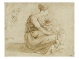 Jeune femme assise à terre avec deux enfants ; et un homme vu de dos Giclee Print by Domenico Beccafumi