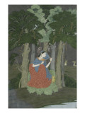 Young Woman Sitting at the Foot of a Clump of Trees Giclee Print