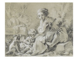 Young Peasant Woman Sitting with a Child and a Dog Giclee Print