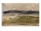 Album d'Angleterre. Paysage dans la campagne anglaise, avec vaches dans un champ. 8/9 juillet 1825 Giclee Print by Eugene Delacroix
