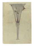 Modèle de vase en cristal en forme de fleur de liseron et décoré de deux papillons en vol pour Giclée-tryk af Emile Gallé