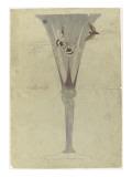 Modèle de vase en cristal en forme de fleur de liseron et décoré de deux papillons en vol pour Giclee Print by Emile Gallé