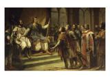 Saint-Louis se prononçant comme arbitre à Amiens entre Henri III roi d'Angleterre et les barons Giclee Print by Georges Rouget