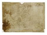 Noé lisant, près de l'arche, tenant une tablette et une corne d'abondance, assis sur des nuées Giclée-tryk af Raffaello Sanzio