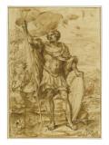 Saint Georges, debout, tenant un étendard et un bouclier timbrés d'une croix Giclée-tryk af Alessandro Algardi