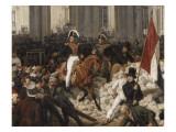 Louis-Philippe, duc d'Orléans, nommé lieutenant général du royaume, quitte à cheval le Palais Giclée-Druck von Horace Vernet