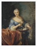 Portrait de dame tenant une corbeille de Fleurs sur fond de parc avec une balustrade et une statue Giclee Print by Jean Raoux