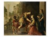 Jeune femme, dont la maternité semble prochaine, implorant la justice d'un guerrier Giclée-Druck von Claude Vignon