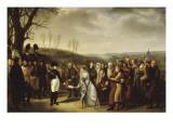 Napoléon Ier accueillant les familles polonaises qui viennent se mettre sous sa protection et Reproduction procédé giclée par Marie Nicolas Ponce-Camus