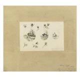 Modèle de décor pour un vase-cornet Louis XV : trois paysages lacustres inscrits dans des Giclée-tryk af Emile Gallé