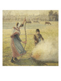 Young Peasant Fire, Frost, or the Burning of Fields Giclee Print by Camille Pissarro