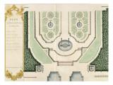 """Sammlung der """"Pläne von Schloss und Schlosspark in Versailles 1720"""", erstellt für Louis Antoine de Bougainville Giclée-Druck von Jean Chaufourier"""