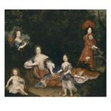Madame de Montespan, le duc du Maine, le comte de Véxin, mademoiselle de Nantes et mademoiselle de Giclee Print by Pierre Mignard