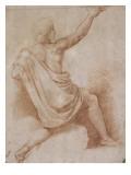 Jeune homme drapé, à demi agenouillé, vu de dos, présentant une coupe Giclée-tryk af Raffaello Sanzio