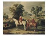 Le Départ pour la chasse : portraits équestres en costume de chasse de Louis Philippe, duc Giclée-Druck von Antoine Charles Horace Vernet
