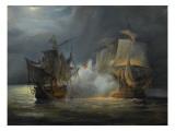 """Combat naval entre la frégate """"la Vénus"""" commandée par le capitaine Hamelin contre la frégate Impression giclée par Pierre Julien Gilbert"""
