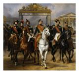 Sortant par la grille d'honneur du château de Versailles après avoir passé une revue militaire Giclée-Druck von Horace Vernet