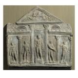 Plaque décorative dite plaque Campana. Façade d'un édifice à fronton avec statues dont celle Giclee Print