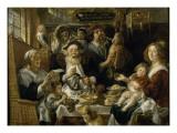 Les Jeunes piaillent comme chantent les vieux Gicléedruk van Jacob Jordaens