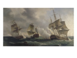 Combat naval entre les fr&#233;gates fran&#231;aises la Nymphe et l&#39;Amphitrite command&#233;es par le vicomte de Reproduction proc&#233;d&#233; gicl&#233;e par Pierre Julien Gilbert