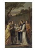 Saint Louis et Marguerite de Provence visitent saint Thibaud de Marly, abbé des Vaux-de-Cernay, Giclée-Druck von Joseph Marie Vien