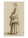Young Woman Standing Holding a Basket under Her Arm Giclee Print