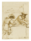 An Old Man and a Young Man Counting Money in a Shop Giclee Print by Guerchin Le