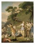 Diane, accompagnée de ses nymphe, au retour de la chasse, ordonne de distribuer le gibier aux Giclée-Druck von Joseph Marie Vien
