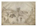 cente de Croix et Déploration du Christ dans un paysage ordonné selon  règ de perspective Giclee Print by Jacopo Bellini
