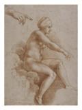 Femme nue assise sur des nuées portée par deux enfants ailés, reprise de la main droite et Giclée-tryk af Raffaello Sanzio