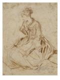 Jeune femme et deux enfants Giclée-tryk af Jean Antoine Watteau