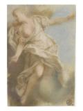Femme à demi-nue sur un nuage, vue de face, tête de profil, les bras étendus Giclée-Druck von Nicolas Vleughels