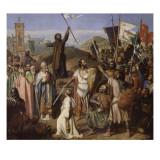 Procession des croisés conduits par Pierre l'Ermite et Godefroy de Bouillon autour de Jerusalem, Lámina giclée por Jean Victor Schnetz